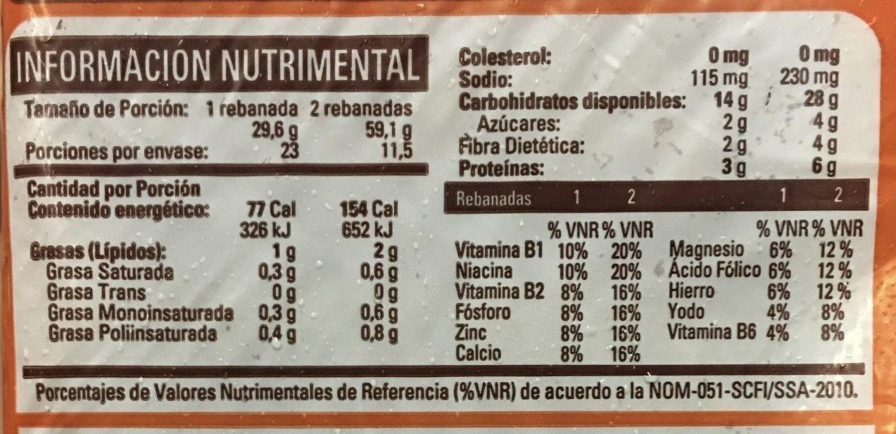 PAN INTEGRAL BIMBO - Nutrition facts