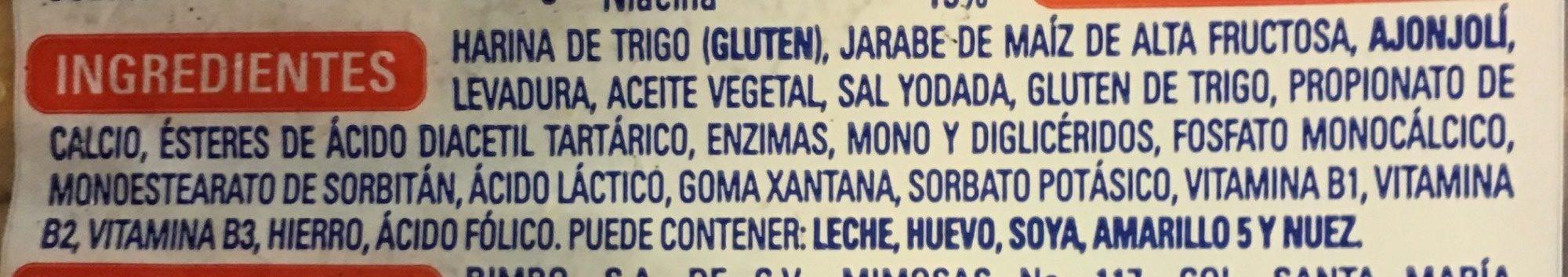 Bimbollos - Ingrédients - es