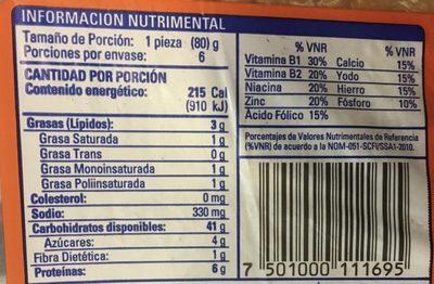 Súper Bimbollos - Informations nutritionnelles - es