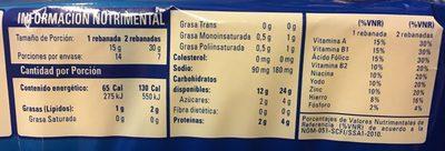 Pan Tostado Clásico - Información nutricional - es