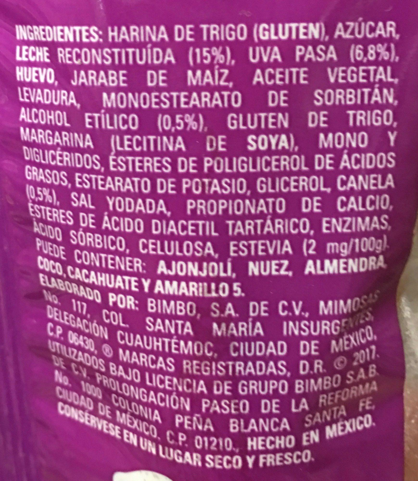 ROLES BIMBO - Ingrédients - es
