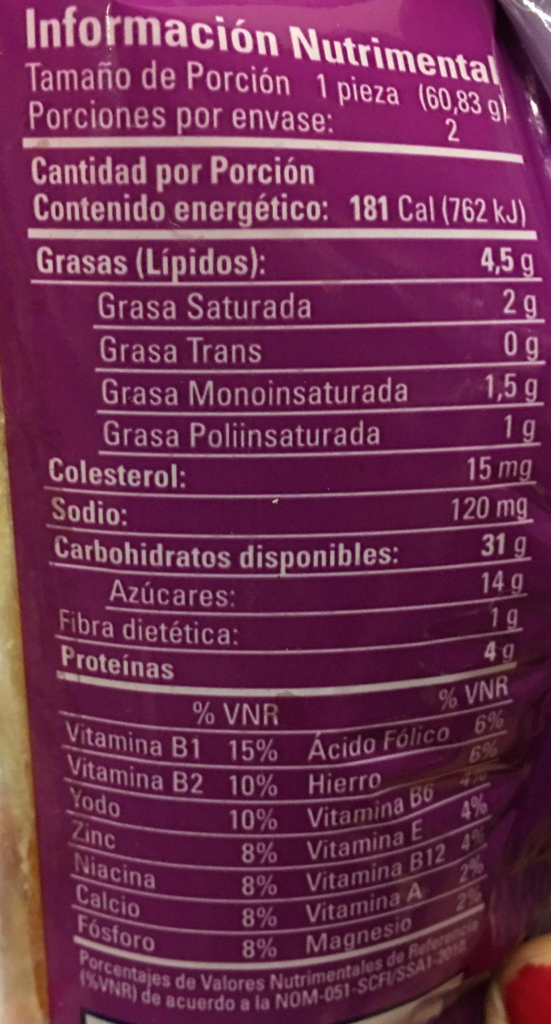 ROLES BIMBO - Informations nutritionnelles - es