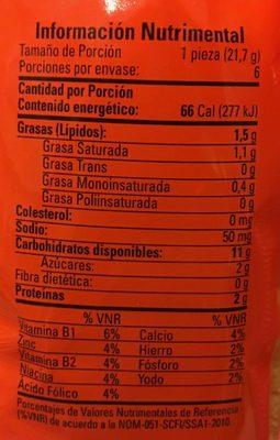 COLCHONES SABOR NARANJA - Informations nutritionnelles - es