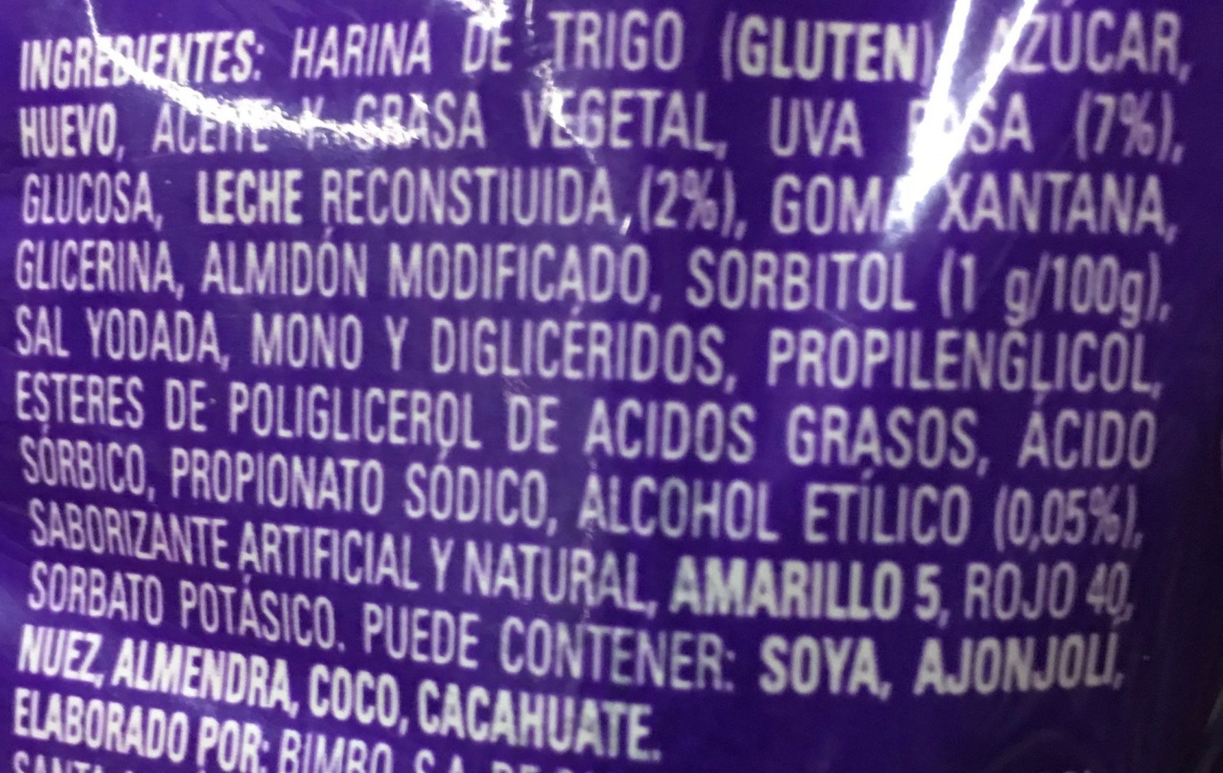 Panqué con pasas - Ingredients