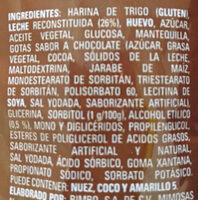 Panquecitos con chispas sabar a chocolate - Ingredients - es
