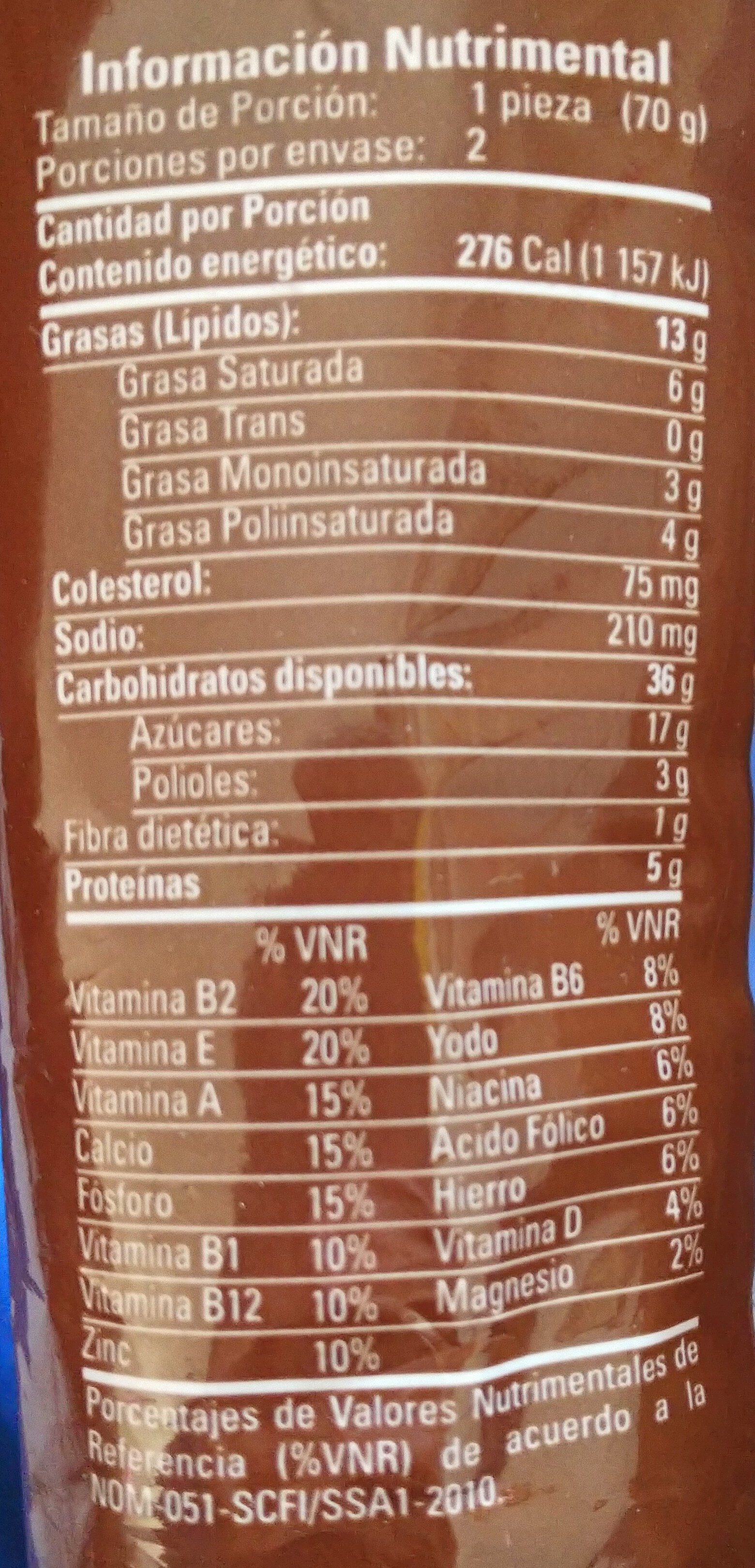 Panquecitos con chispas sabar a chocolate - Informació nutricional - es