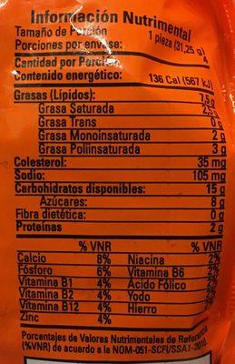 Mantecadas sabor vainilla - Informations nutritionnelles - es