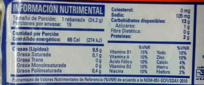Pan Blanco - Nutrition facts