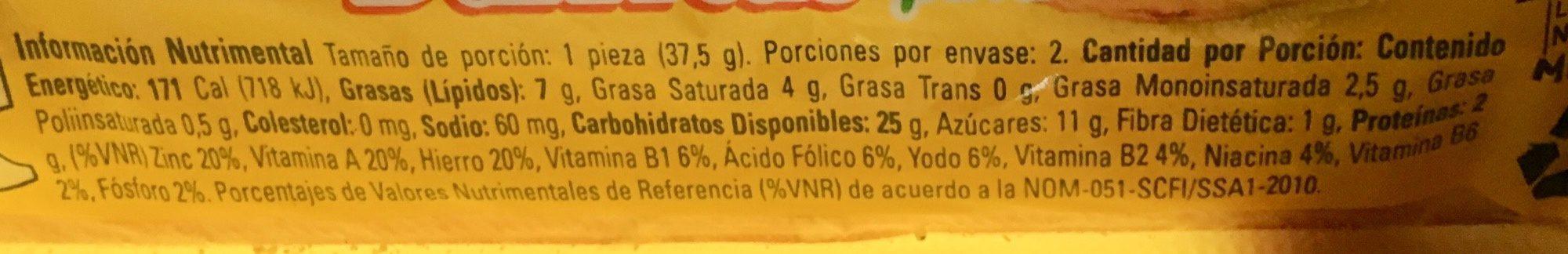 Barritas Piña Marinela - Voedingswaarden - es