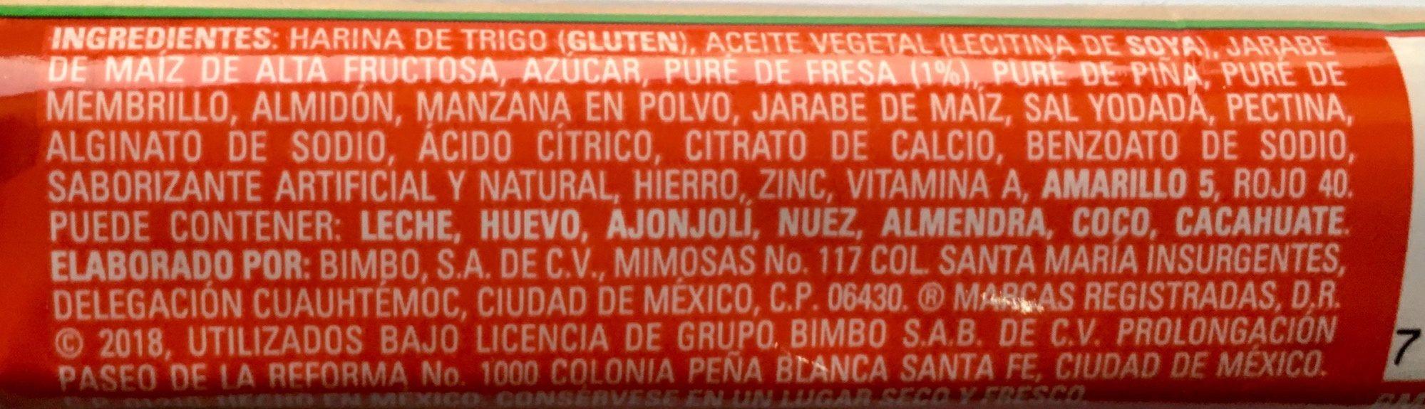 Barritas Fresa Marinela - Ingrediënten - es