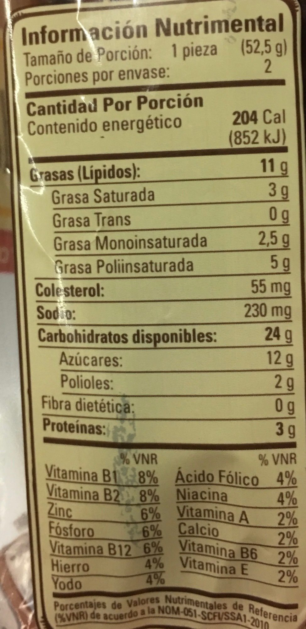 Mantecadas - Informations nutritionnelles - es