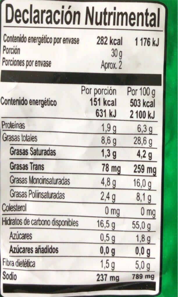 Takis Temptation Barcel 62GR. - Valori nutrizionali - es