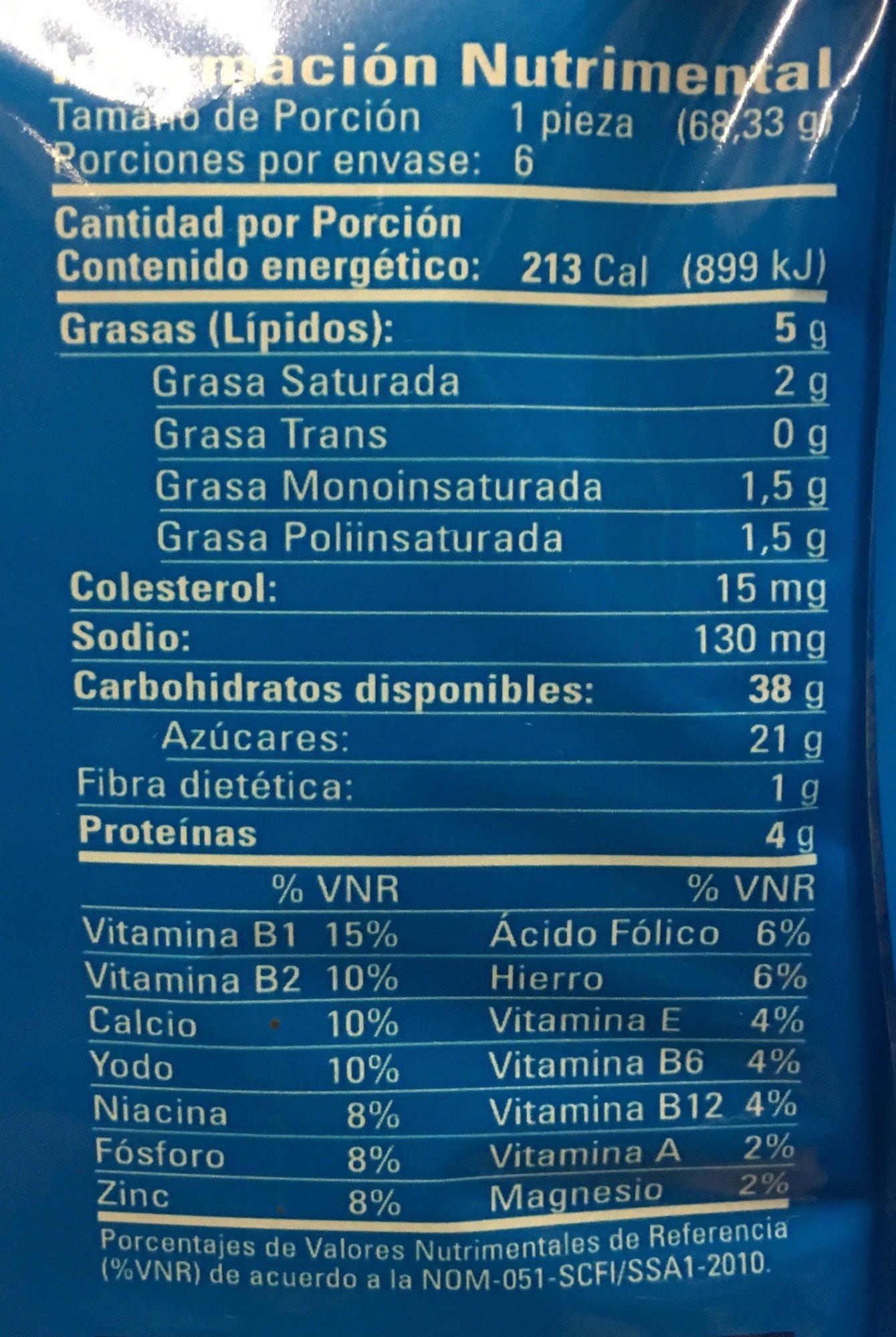 ROLES de Canela Glaseados - Informations nutritionnelles - es
