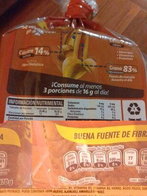 pan lactal bimbo - Información nutricional
