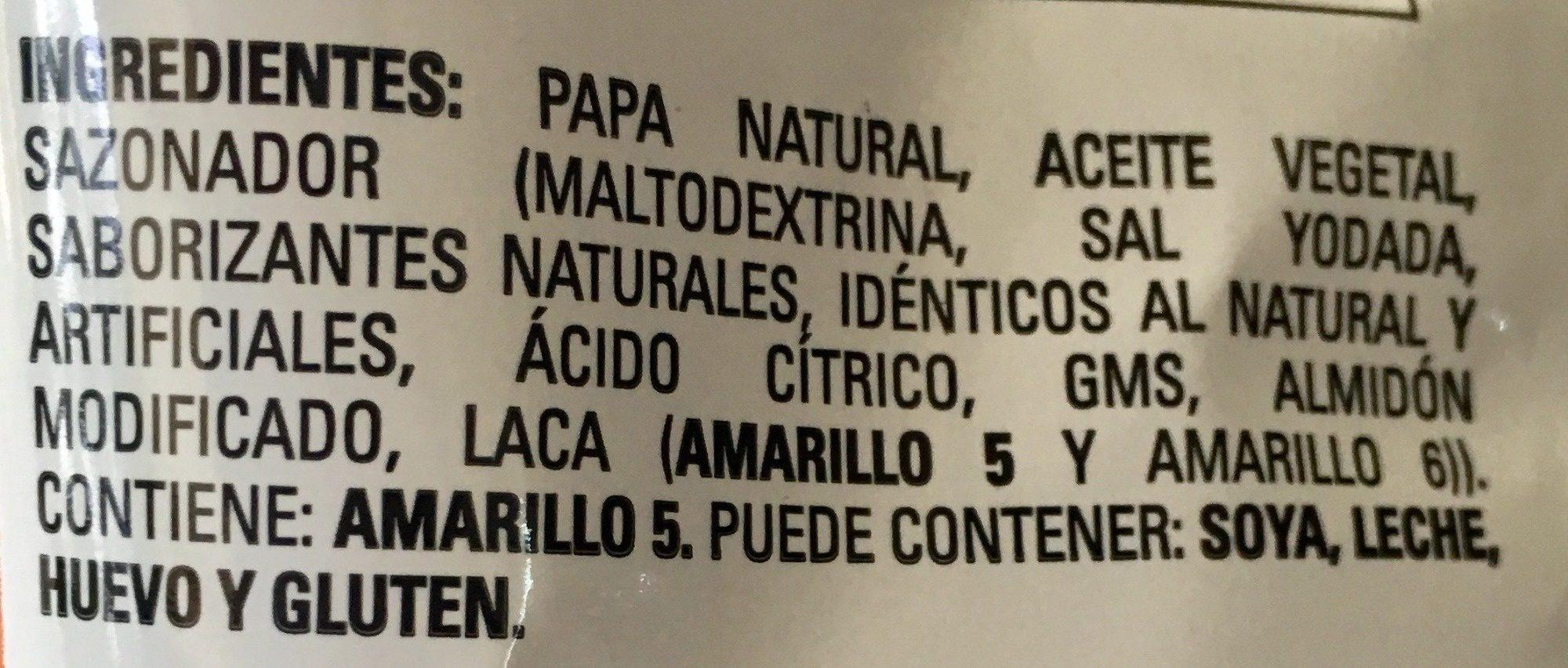 Papas Toreadas sabor Chile Habanero - Ingredients - es