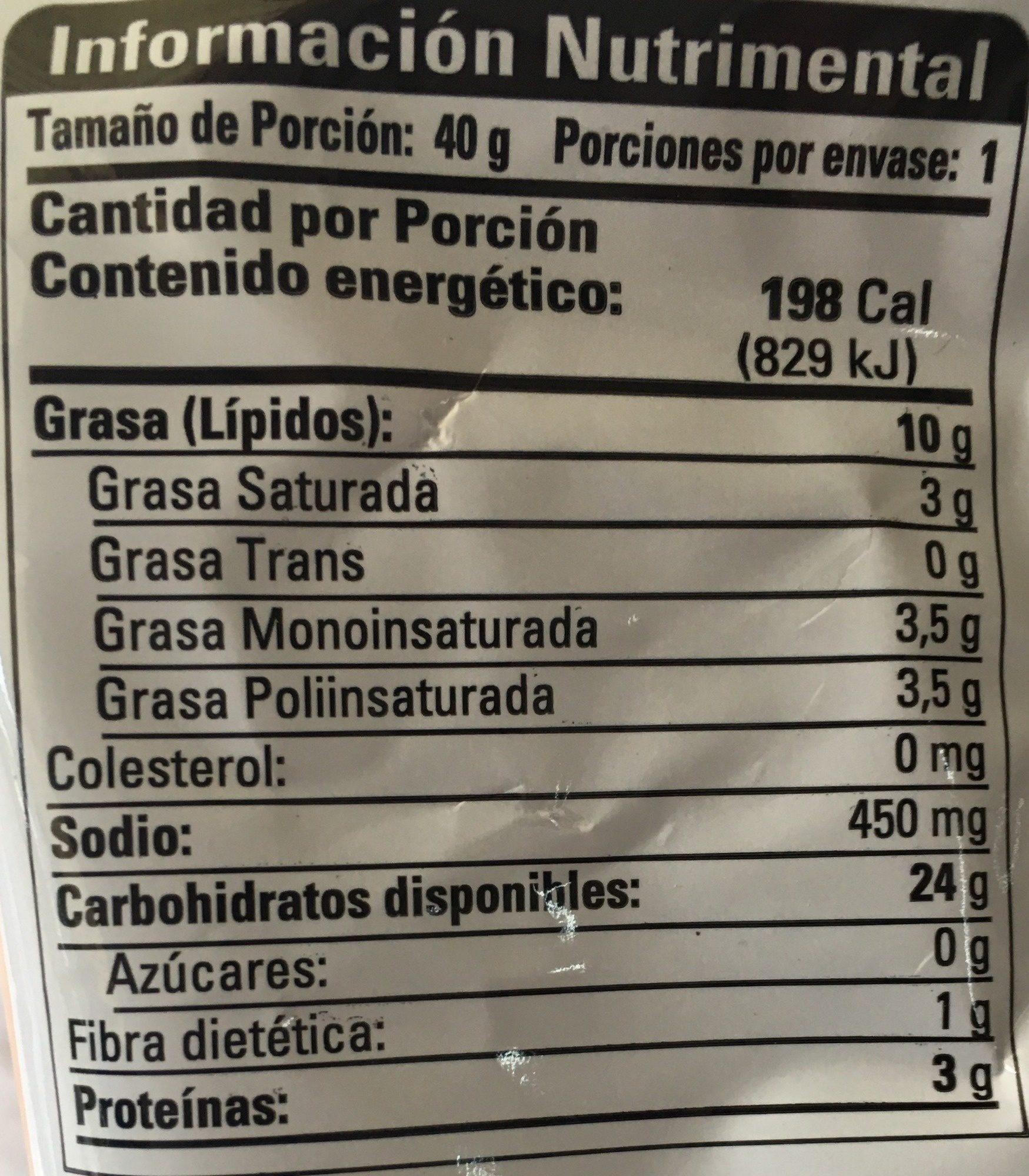 Papas Toreadas sabor Chile Habanero - Nutrition facts - es