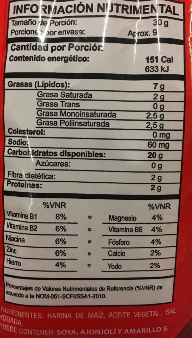 Totopos - Informations nutritionnelles - es