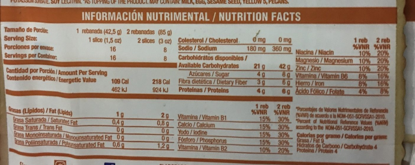 100% Integral - Voedingswaarden - es