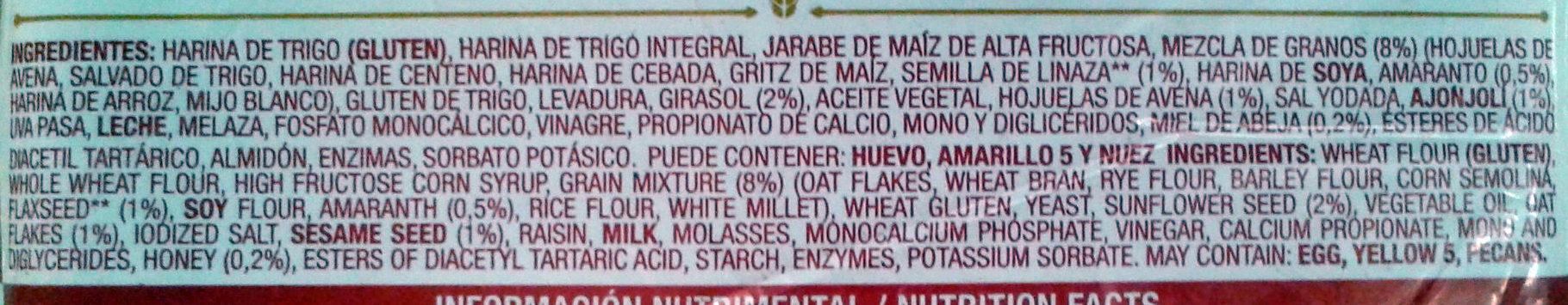 Oroweat 12 Granos - Ingredientes - es