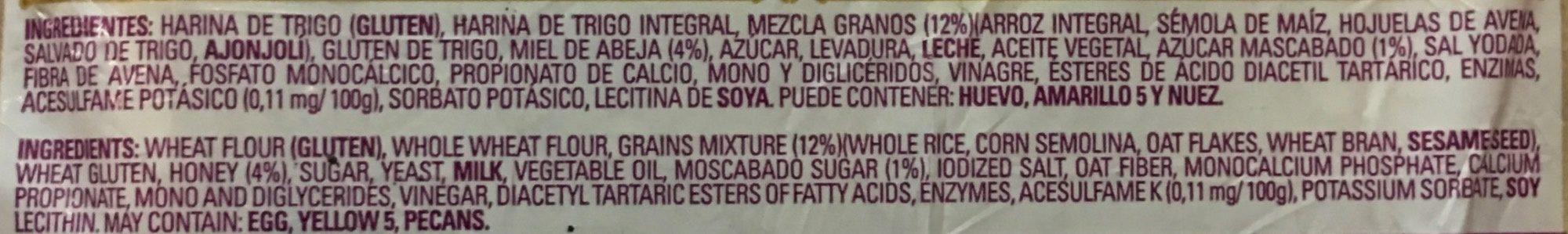 Oroweat Mult-igrano - Ingredientes - es