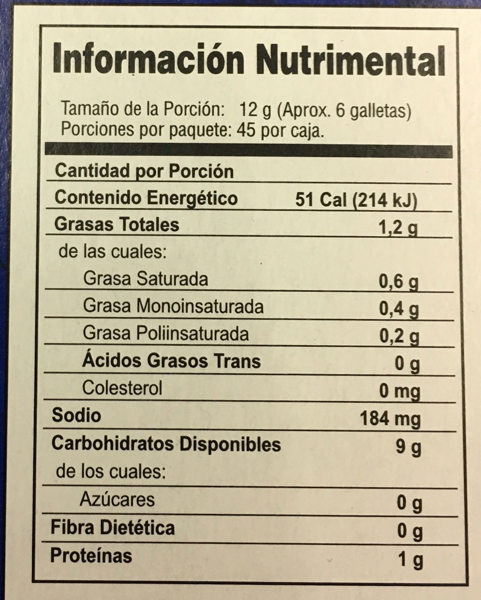 Saladitas gamesa - Informations nutritionnelles