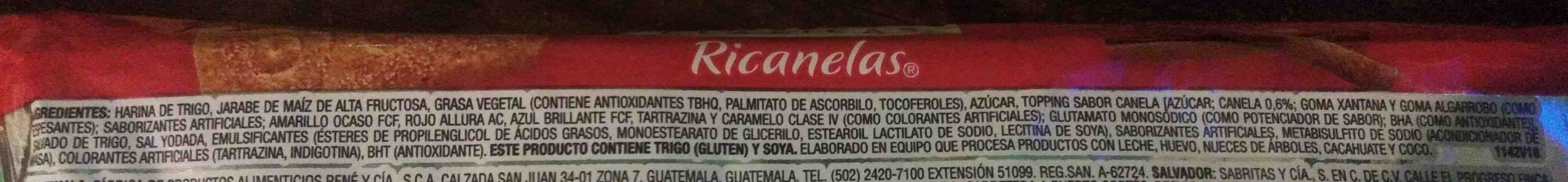 Ricanelas - Ingredients - es
