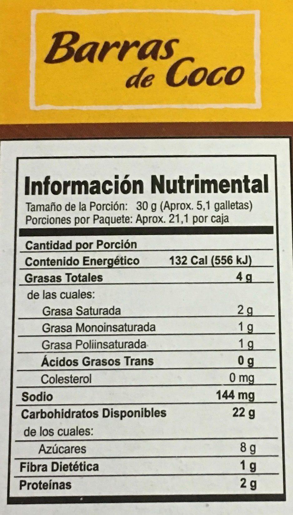 Barras de coco - Voedingswaarden - es
