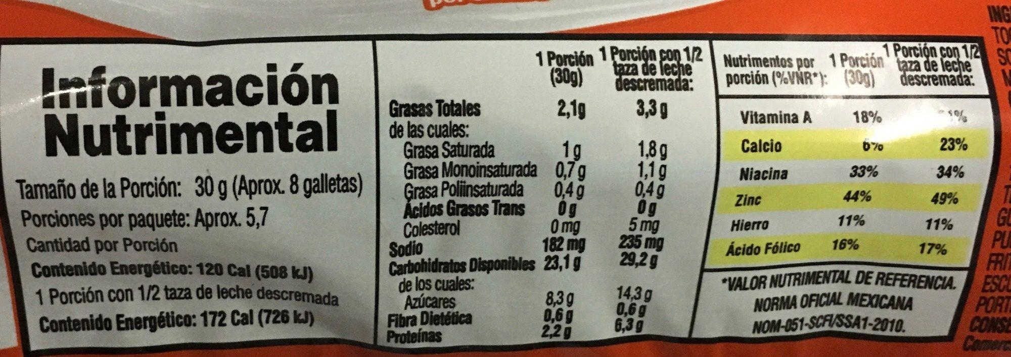 Marías - Nutrition facts - es