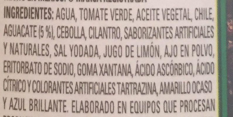 Salsa guacamole frasco 240 g - Ingrediënten - es
