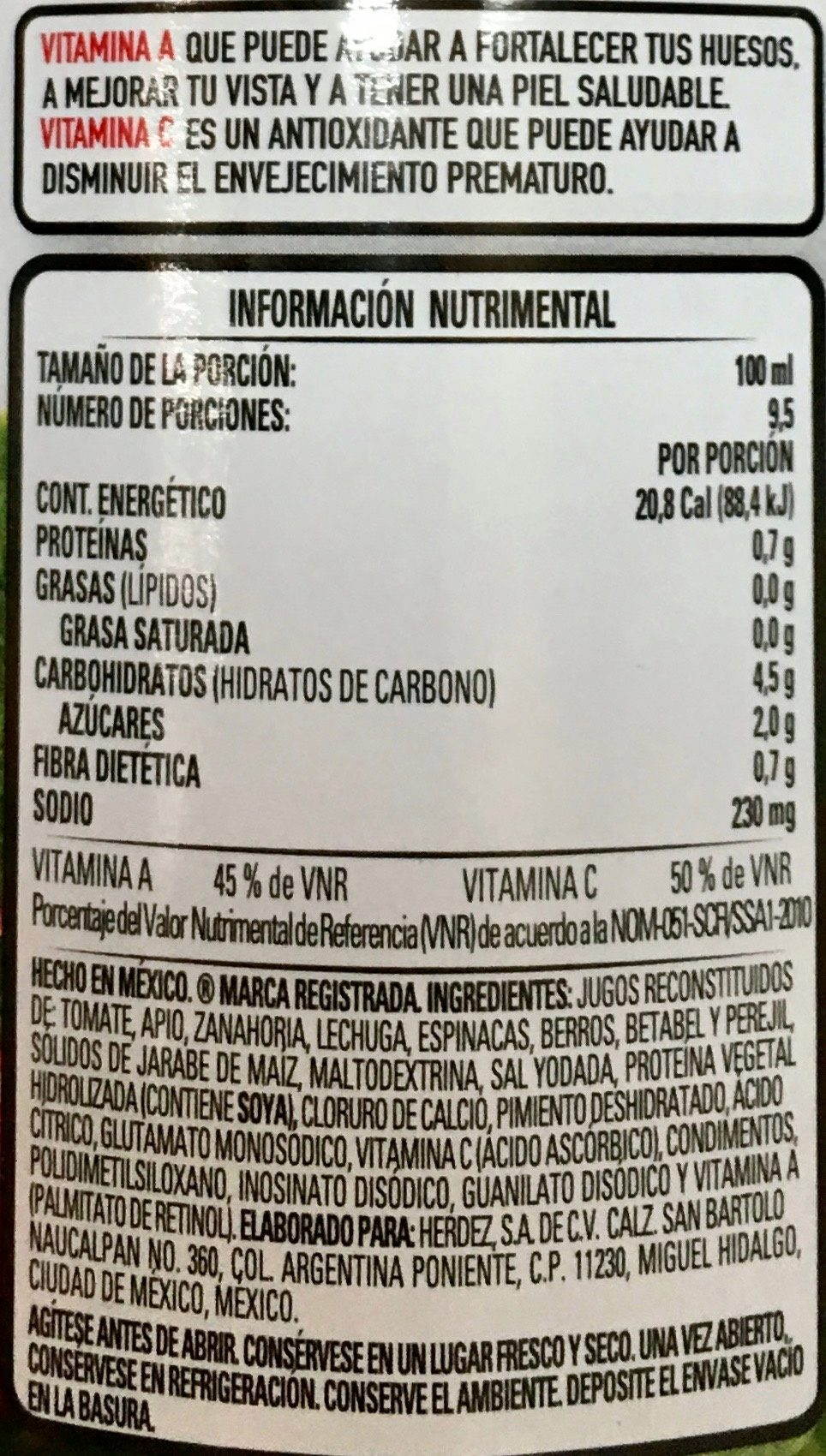 Herdez Jugo de 8 verduras - Ingrediënten - es