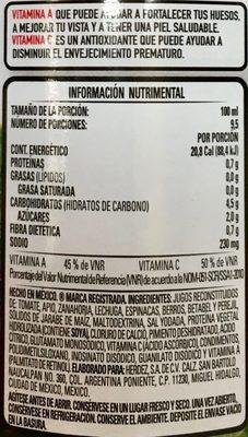 Herdez Jugo de 8 verduras - Voedingswaarden