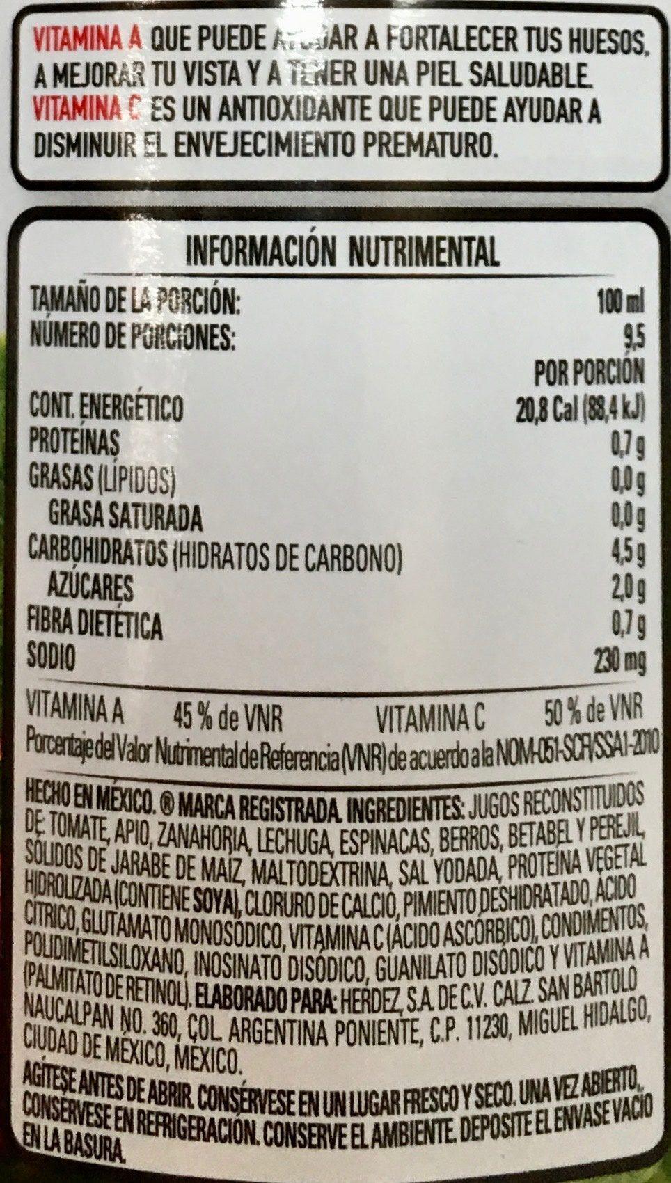 Herdez Jugo de 8 verduras - Voedingswaarden - es