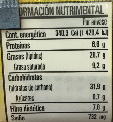 Palomitas Cinepolis - Valori nutrizionali - es