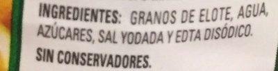 Granos de elote Herdez - Ingrediënten