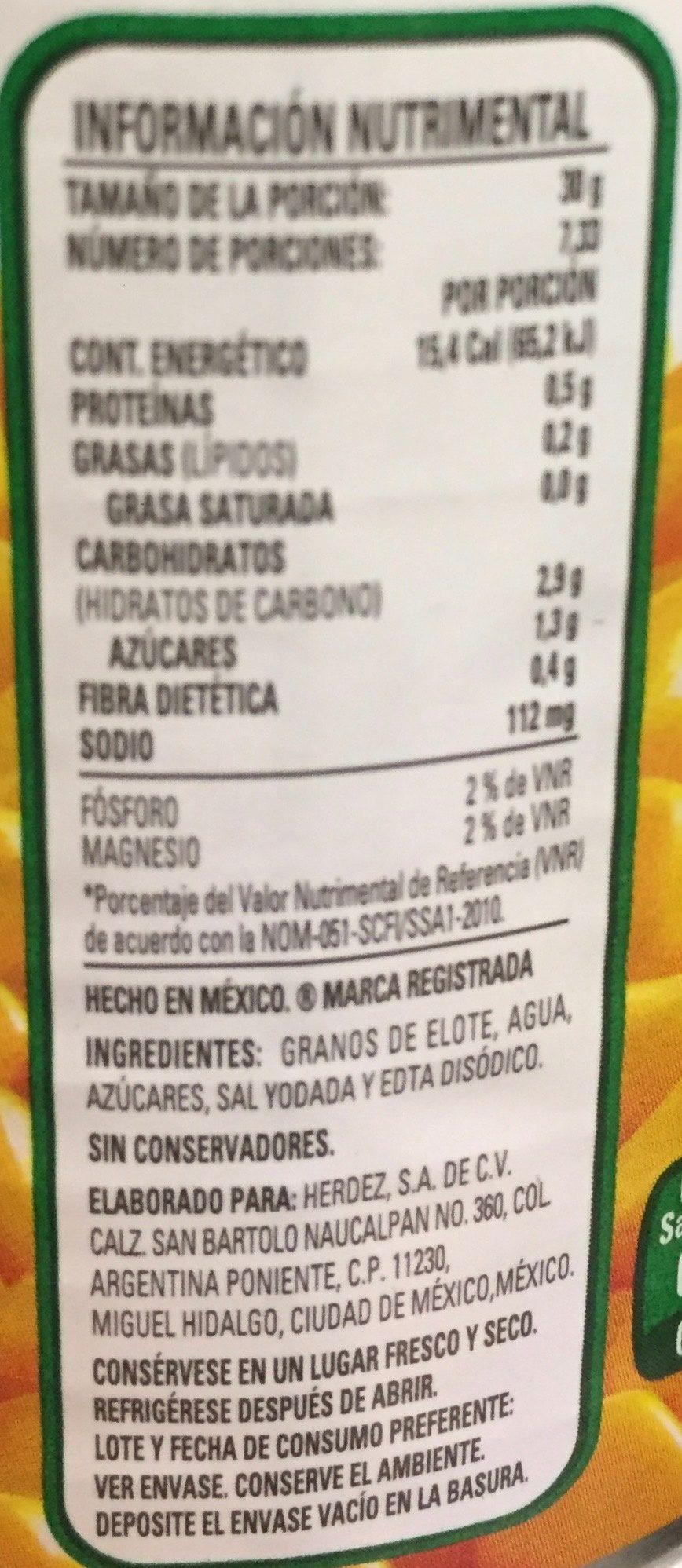 Granos de elote Herdez - Voedingswaarden
