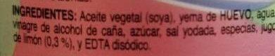 Mayonesa McCormick - Ingredients - es