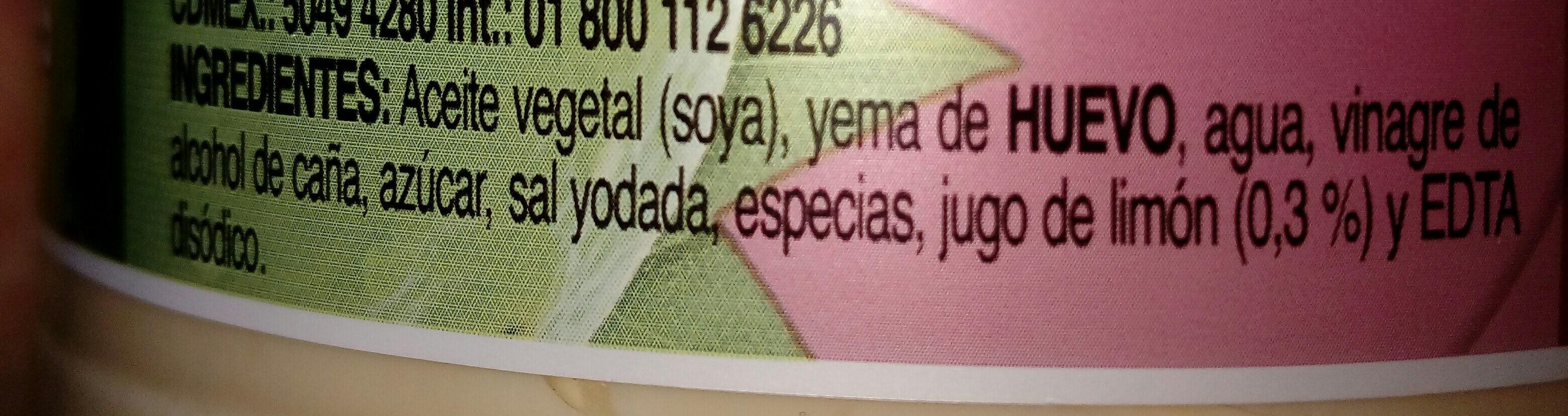 Mayonesa con jugo de limones - Ingredientes - es