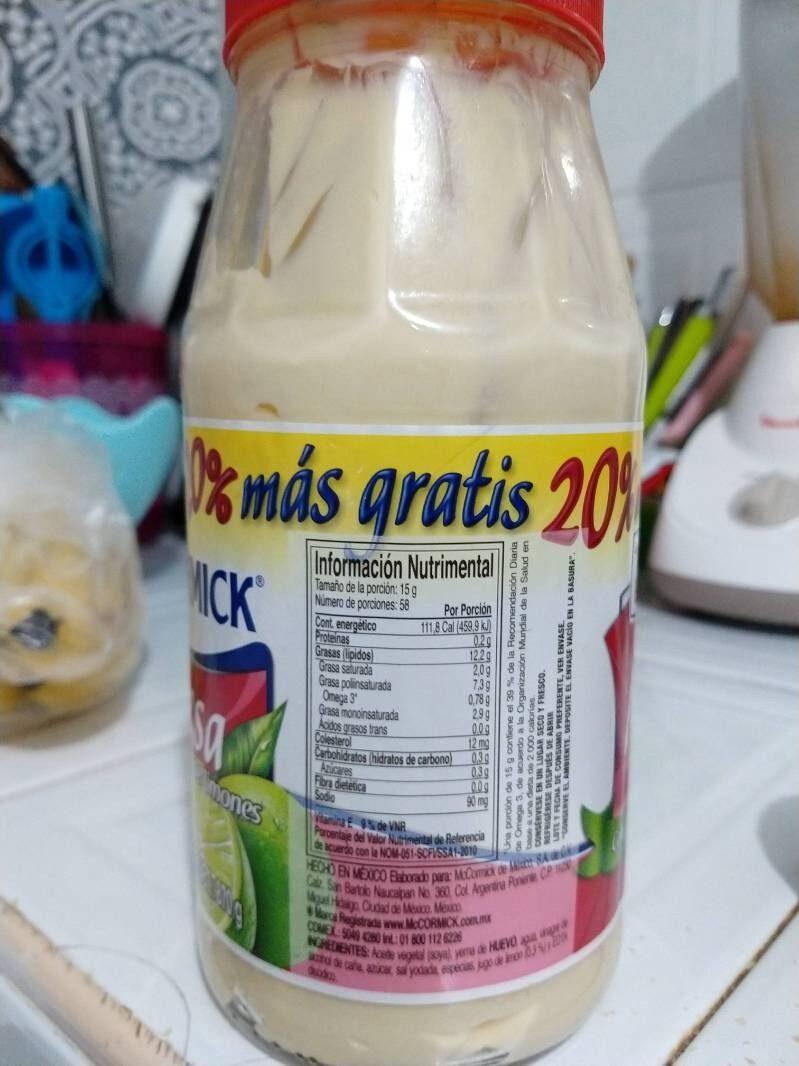 Mayonesa con jugo de limones - Información nutricional - es