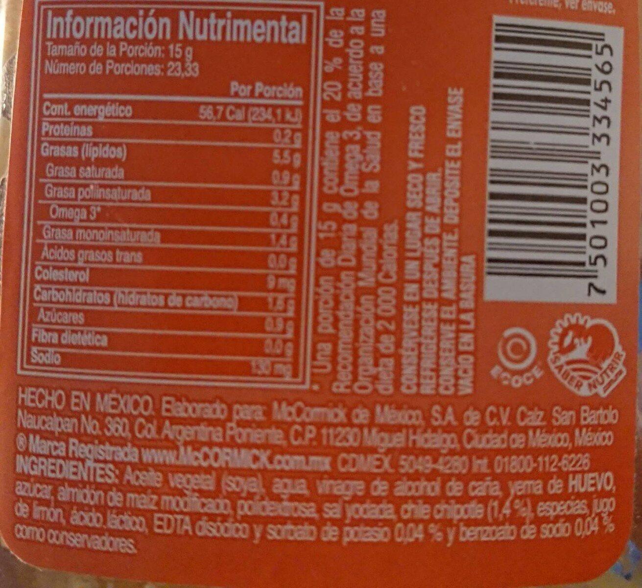 Mayonesa avec Chipotle - Información nutricional - fr