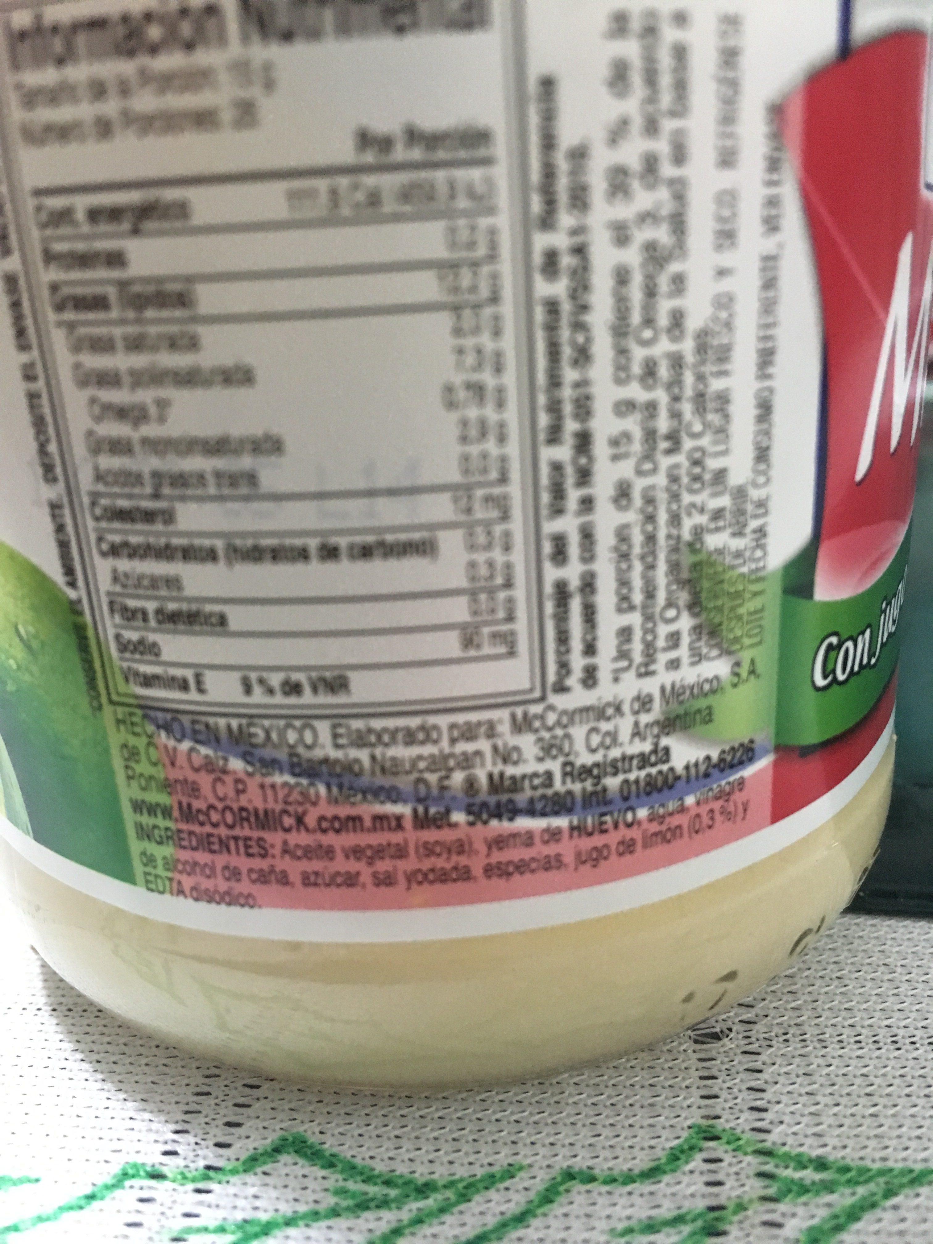 Mayonesa Con Limon En Frasco - Ingrédients