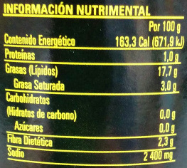 Aceitunas deshuesadas Búfalo - Nutrition facts - es