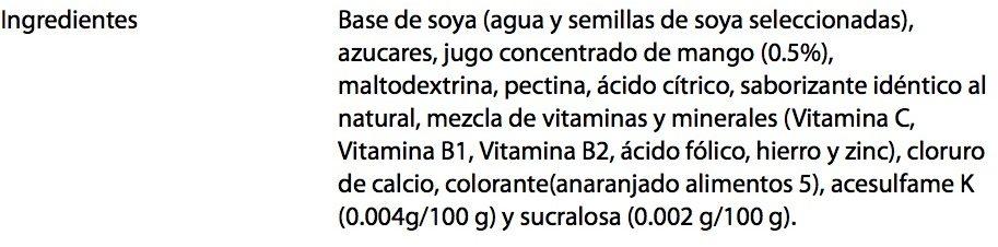 Ades Soya con jugo de Mango - Ingrédients