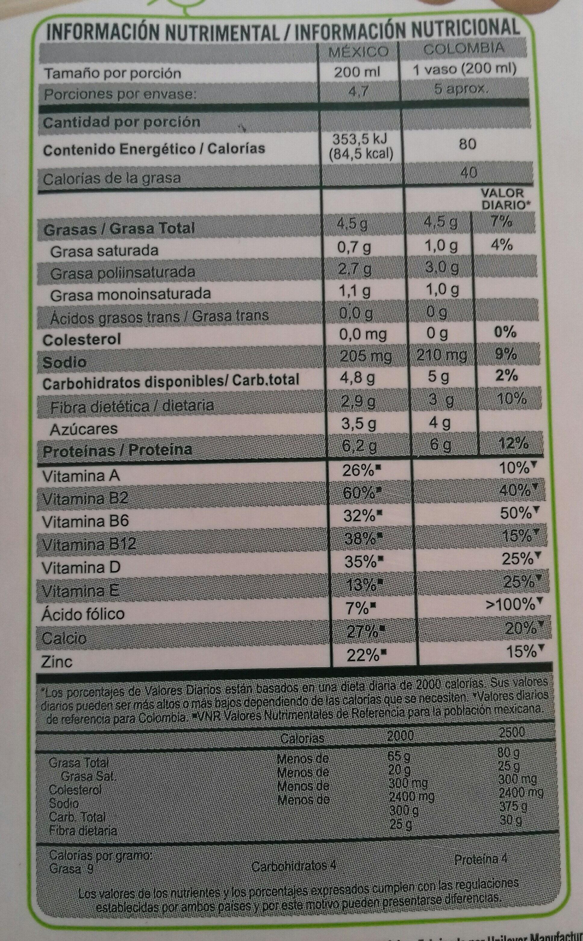 Bebida De Soya - Información nutricional - es