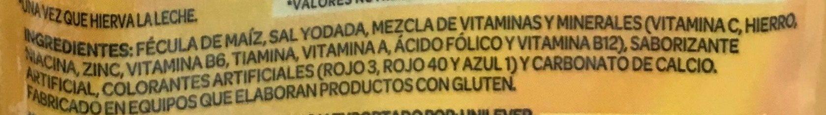 Fécula de maiz para preparar atole fortificado sabor fresa - Ingrédients - es