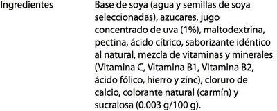 Ades Soya + Jugo de Uva - Ingrédients