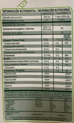 Ades con Jugo de Soya - Informations nutritionnelles
