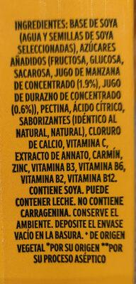 Soya + Jugo de fruta (durazno) - Ingredientes - es