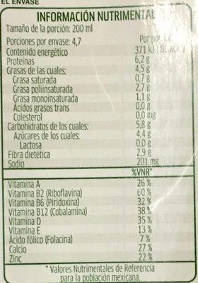 Alimento líquido de soya sabor coco - Voedingswaarden