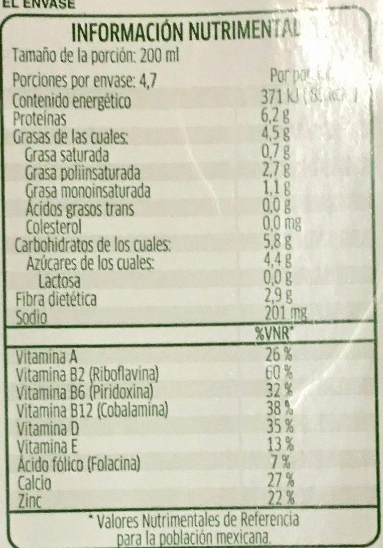 Alimento líquido de soya sabor coco - Información nutricional - es