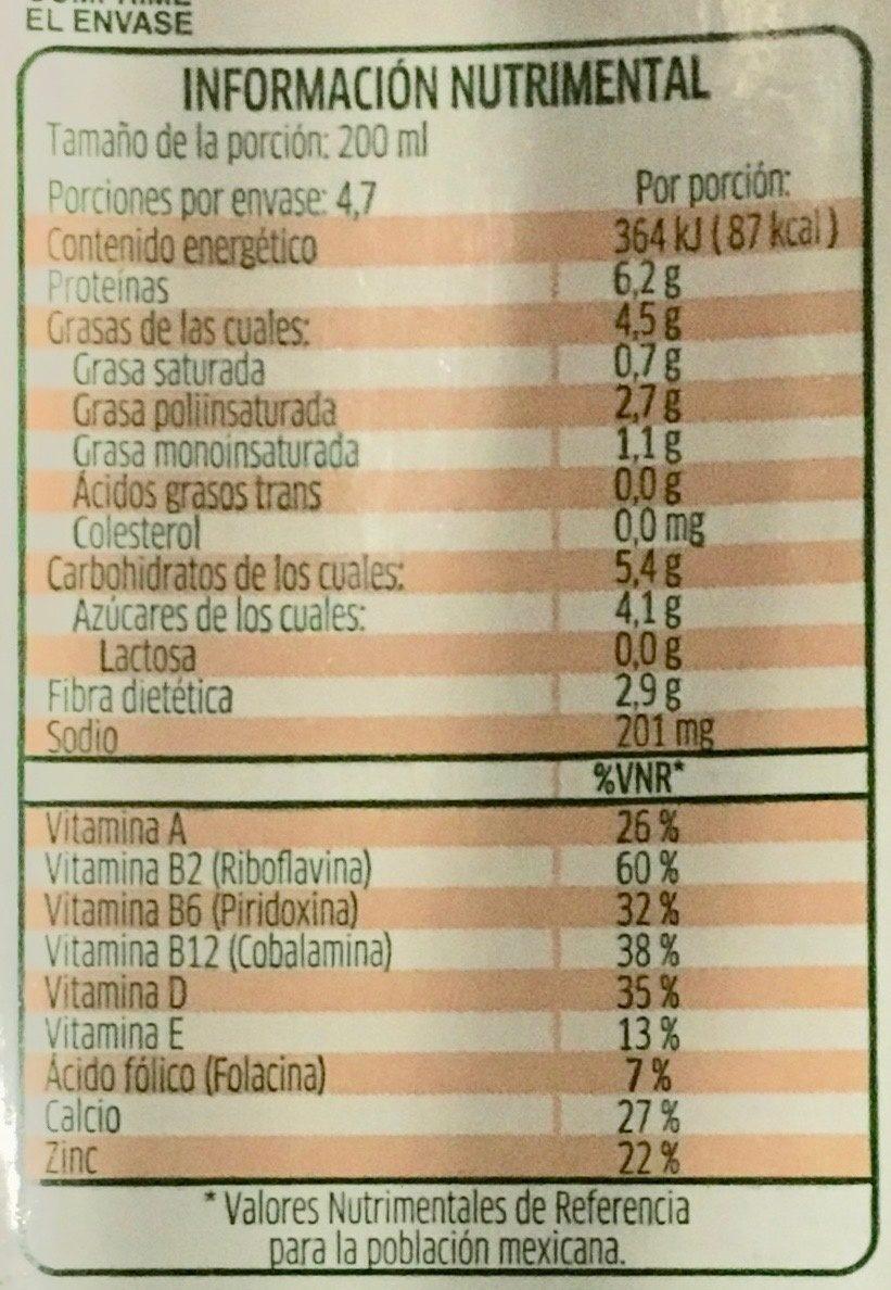 Leche de soya sabor nuez - Nutrition facts